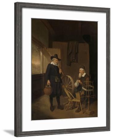 Interior with Fisherman and Man Beside a Bobbin and Spool-Quiringh Gerritsz van Brekelenkam-Framed Art Print