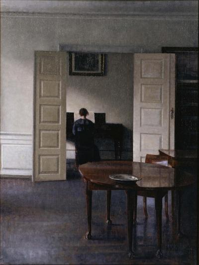 Interior with Ida Playing the Piano-Vilhelm Hammershoi-Giclee Print