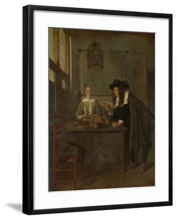 Interior with Lace-Worker and a Visitor-Quiringh Gerritsz van Brekelenkam-Framed Art Print
