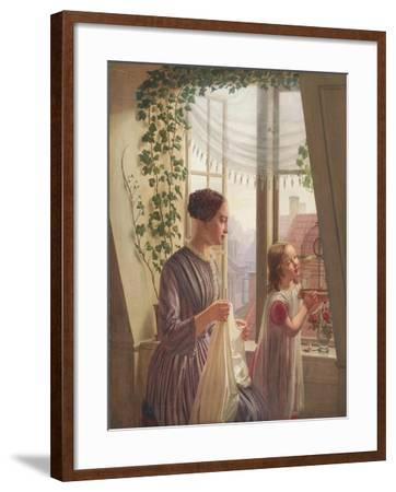 Interior with mother and daughter by a window, 1853-Ludvig August Smith-Framed Giclee Print