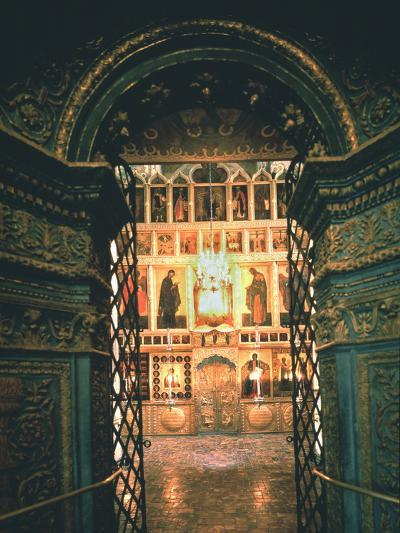 Interior with the Iconostasis in the Annunciation Cathedral in the Moscow Kremlin, 14th-15th C--Photographic Print
