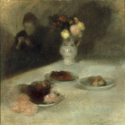 Interior with Woman Knitting-Eugene Carriere-Giclee Print