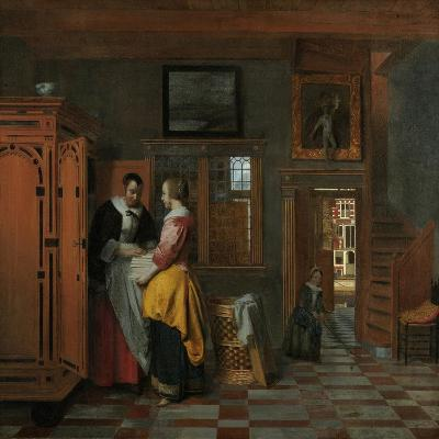 Interior with Women Beside a Linen Chest, 1663-Pieter de Hooch-Giclee Print
