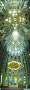 Interiors of a Church Designed by Catalan Architect Antonio Gaudi, Sagrada Familia, Barcelona, C...