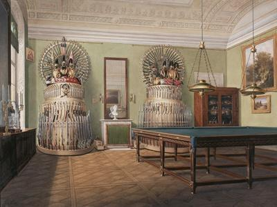 Interiors of the Winter Palace, the Billiard Room of Emperor Alexander II, Mid of the 19th C-Eduard Hau-Giclee Print