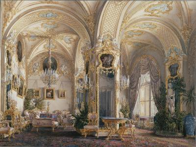 Interiors of the Winter Palace, the Drawing Room in Rococo Style with Cupids, 1860S-Eduard Hau-Giclee Print