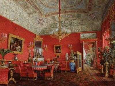 Interiors of the Winter Palace, the Large Drawing Room of Empress Alexandra Fyodorovna, 1858-Eduard Hau-Giclee Print