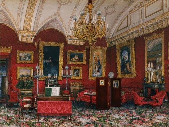 Interiors of the Winter Palace, the Study of Grand Princess Maria Nikolayevna, End of 19th C-Konstantin Andreyevich Ukhtomsky-Giclee Print