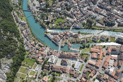 Interlaken, Interlaken-Oberhasli, Bern, Switzerland, Jungfrau Region, Town Centre, Aerial Picture-Frank Fleischmann-Photographic Print