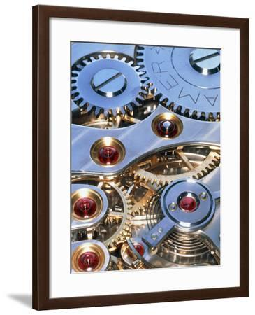 Internal Cogs And Gears of a 17-jewel Swiss Watch-David Parker-Framed Photographic Print