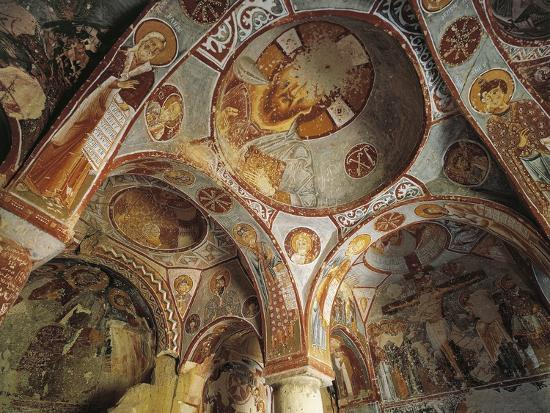 Internal Vaulting with 11th Century Frescoes, Goreme Valley Church--Photographic Print