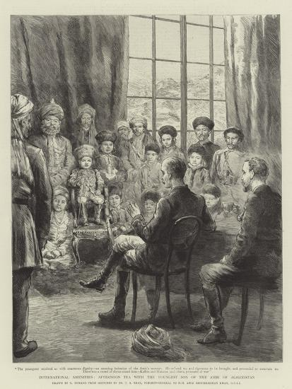 International Amenities, Afternoon Tea with the Youngest Son of the Amir of Afghanistan-Godefroy Durand-Giclee Print