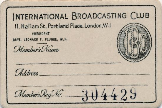 'International Broadcasting Club: Membership card', c1930s-Unknown-Giclee Print