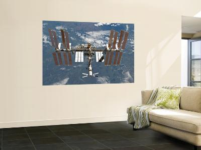 International Space Station Backgropped by a Blue and White Earth-Stocktrek Images-Wall Mural