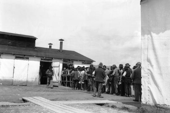Internment Camp Katzenau, a Suburb of Linz, Austria: Prisoners in Line for the Meal--Photographic Print