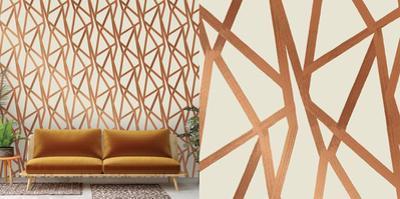 Intersections Urban Bronze Self-Adhesive Wallpaper