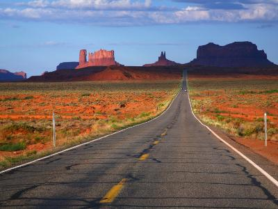 Interstate 163 Approaching Monument Valley with Sentinel Mesa in Backgound-Ruth Eastham & Max Paoli-Photographic Print