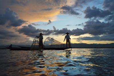 Intha Fisherman Rowing at Sunset on Inle Lake, Shan State, Myanmar-Keren Su-Photographic Print