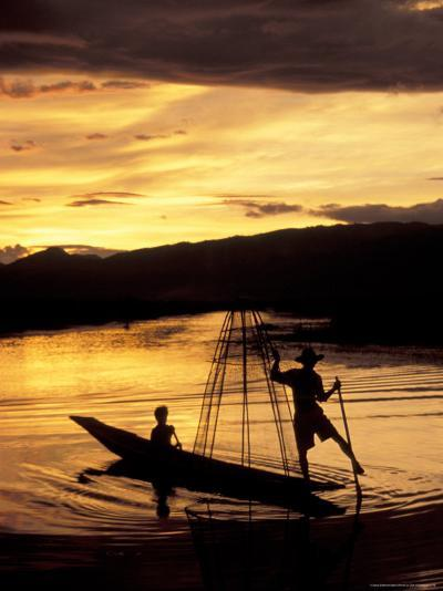Intha Fisherman Rowing Boat With Legs at Sunset, Myanmar-Keren Su-Photographic Print