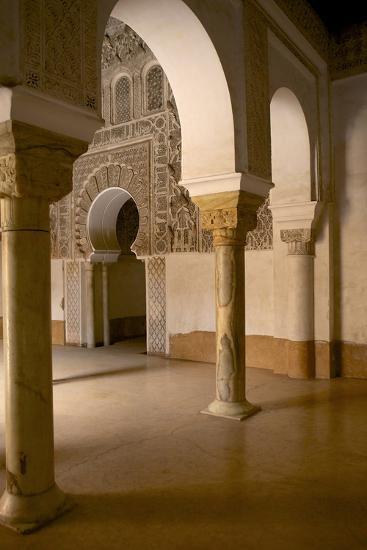 Intricate Islamic Design at Medersa Ben Youssef-Simon Montgomery-Photographic Print