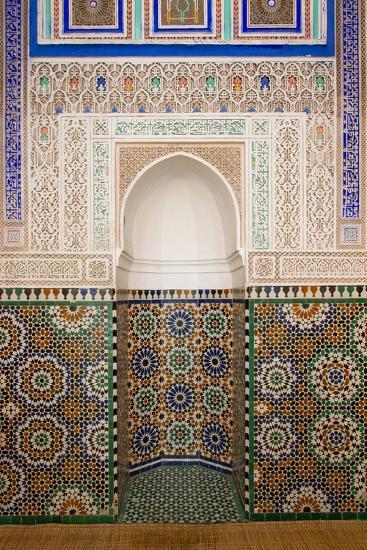 Intricate Tile Mosaics in an Alcove at the Mausoleum of Moulay Ismail-Erika Skogg-Photographic Print