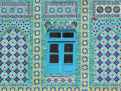 Intricate Tiling Round a Blue Window at the Shrine of Hazrat Ali-Jane Sweeney-Photographic Print