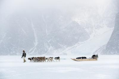 Inuit Hunter Walking His Dog Team on the Sea Ice in a Snow Storm, Greenland, Denmark, Polar Regions-Louise Murray-Photographic Print