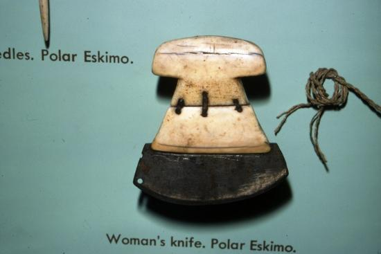 Inuit, Polar Eskimo or Inughuit, Woman's knife in Bone and steel-Unknown-Giclee Print