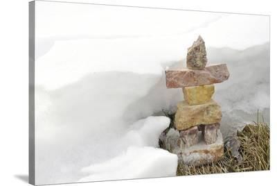 Inukshuk in Cold Winter Scene--Stretched Canvas Print