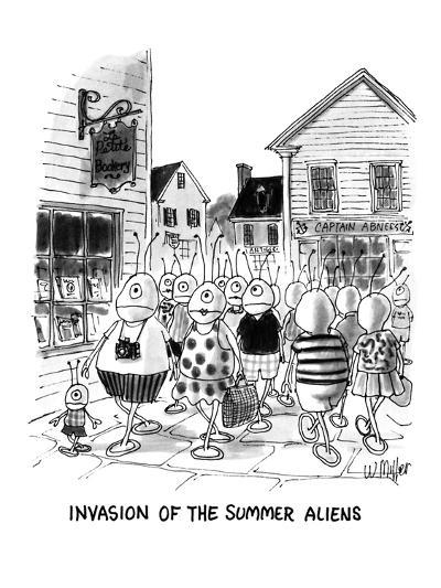 Invasion Of The Summer Aliens - New Yorker Cartoon-Warren Miller-Premium Giclee Print