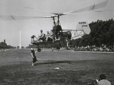 Inventor Charles Kaman Showing Off His K-225 Helicopter-Ernest J^ Cottrell-Photographic Print