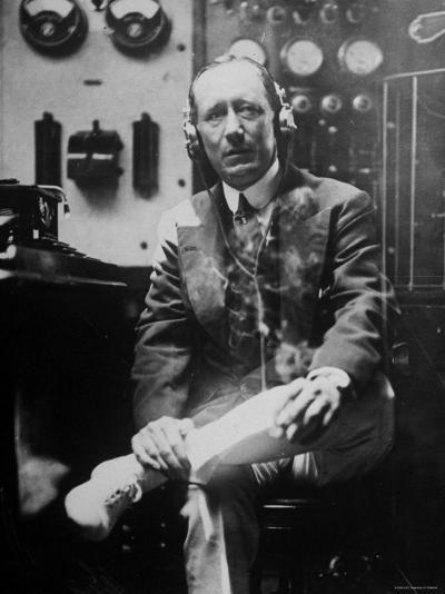 Inventor Guglielmo Marconi Wearing Headphones in Development of Short Wave Wireless Communication--Premium Photographic Print