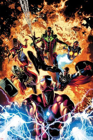 Invincible Iron Man No. 11 Cover Art Featuring: Ms. Marvel, Vision, Nova, Falcon Cap and More-Mike Deodato-Art Print