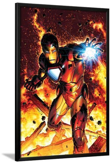Invincible Iron Man No.2 Cover: Iron Man-Brandon Peterson-Lamina Framed Poster