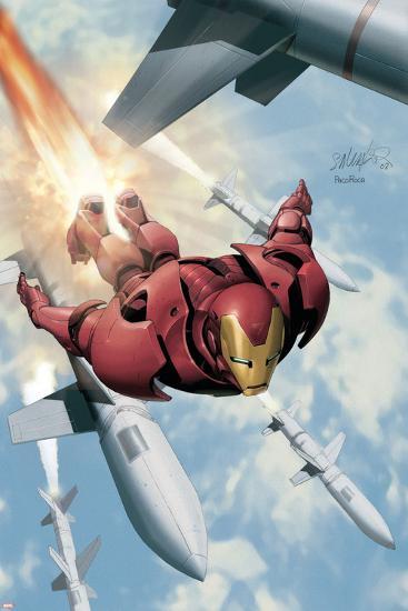 Invincible Iron Man No.3 Cover: Iron Man-Salvador Larroca-Art Print