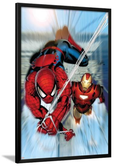 Invincible Iron Man No.7 Cover: Iron Man and Spider-Man-Salvador Larroca-Lamina Framed Poster