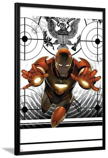 Invincible Iron Man No.8 Cover: Iron Man-Salvador Larroca-Lamina Framed Poster