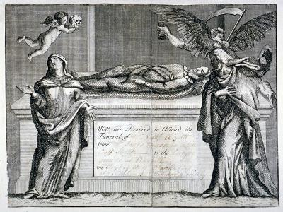 Invitation Card to a Funeral at Bunhill Fields in 1737--Giclee Print
