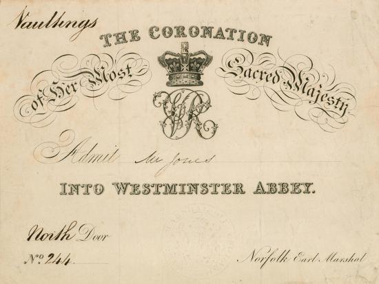 Invitation to the Coronation of Her Most Sacred Majesty at Westminster Abbey, 28 June 1838--Giclee Print