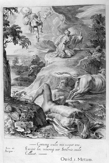 Io Changed into a Cow: Mercury Cuts Off Argus' Head, 1655-Michel de Marolles-Giclee Print