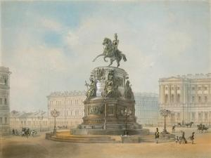 The Equestrian Monument of Nicholas I of Russia on St Isaac's Square in Saint Petersburg by Iosif Iosifovich Charlemagne