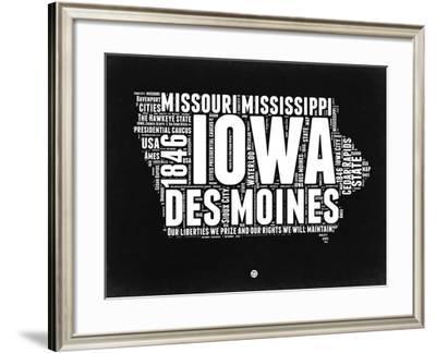 Iowa Black and White Map-NaxArt-Framed Art Print