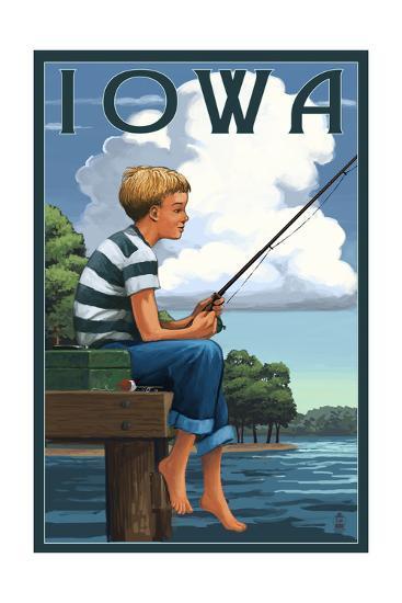 Iowa - Boy Fishing-Lantern Press-Art Print