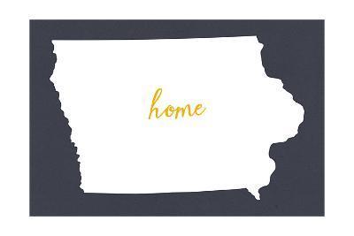 Iowa - Home State- White on Gray-Lantern Press-Art Print