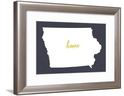 Iowa - Home State- White on Gray-Lantern Press-Framed Art Print