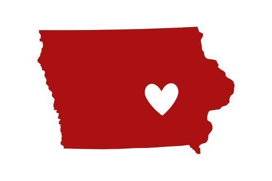 Iowa - State Outline and Heart-Lantern Press-Art Print