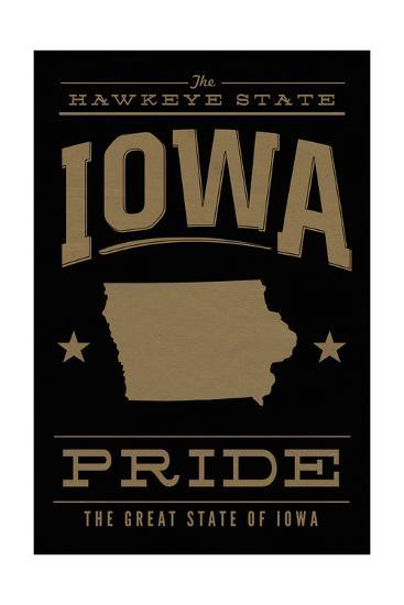 Iowa State Pride - Gold on Black-Lantern Press-Art Print