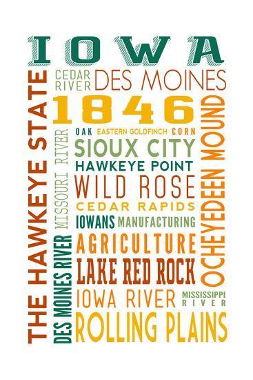 Iowa - Typography-Lantern Press-Art Print