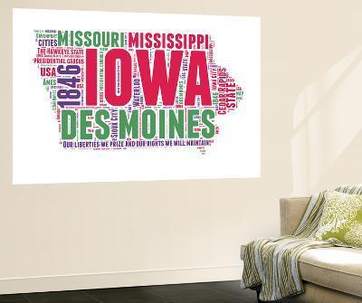 Iowa Word Cloud Map-NaxArt-Wall Mural