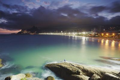 Ipanema Beach and Ponta do Aproador at Sunset, Rio de Janeiro, Brazil, South America-Ian Trower-Photographic Print